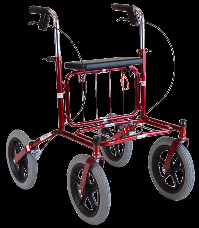 Carl Oskar - utomhus rollator med stora lufthjul