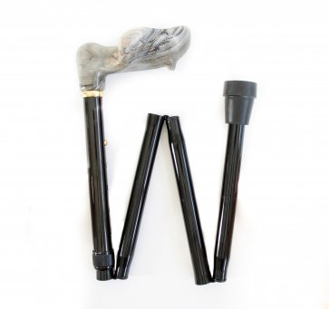 Käpp, som kan fällas ihop, ergonomiskt grepp, justerbar på höjden