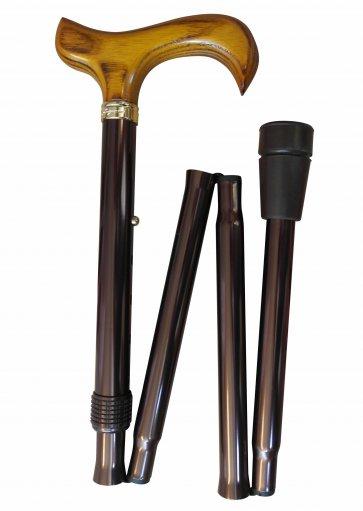 Hopfällbar käpp, lätt att låsa, brun, kan justeras på höjden