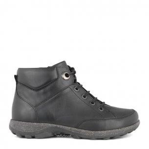 New Feet damstövel i töjbart skinn med skosnören och blixtlås - extra brett