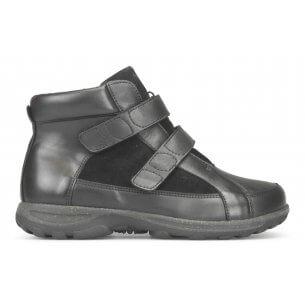 New Feet damstövel i töjbart skinn med kardborrstängning och varmt foder - extra bred