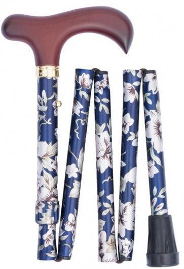 Snygg käpp med vacker blå färg och detaljer med blommor på.