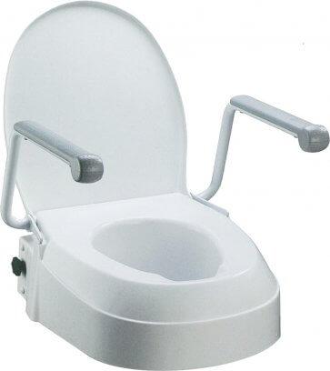 Toalettförhöjare med armstöd som kan avmonteras.