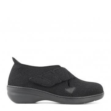 New Feet damtoffel i ull med liten klack och med hälkappa