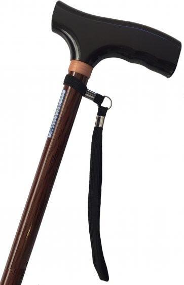 Klassisk brun promenadkäpp, justerbar på höjden