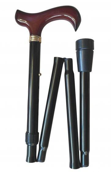 Hopfällbar käpp med derbygrepp, justerbar på höjden, halksäker doppsko, svart