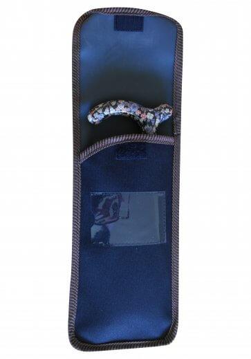 Väska till hopfällbar käpp, svart med bruna kanter