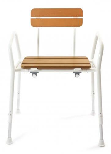 Denna dushcstol är framställd av kraftigt aluminium med en sits i trä -look.