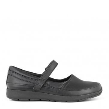 New Feet ballerina i svart töjbart skinn