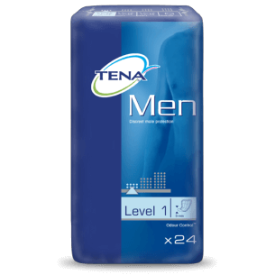 Tena vuxenblöjor till män, nivå 1, visas i paket